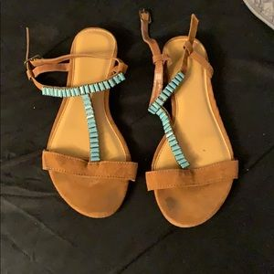 Gladiator sandal with teal stones